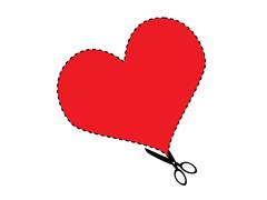Vektorgrafik: Schere schneidet ein Herz aus