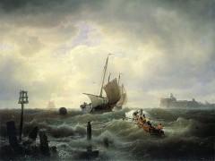 Gemälde von Andreas Achenbach: stürmische Hafeneinfahrt, 1850