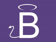 Bootstrap-B mit Heiligenschein und Teufelsschwanz