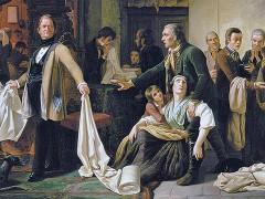 Gemälde »Die schlesischen Weber«, K.W. Hübner, 1844
