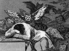 Francisco de Goya: »Der Schlaf der Vernunft gebiert Ungeheuer« (Ausschnitt), 1798
