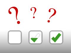 Drei Checkboxen mit drei unterschiedlichen Zuständen
