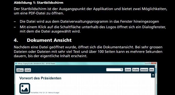Ausschnitt Seite 3 - Handbuch VIP-Reader im Foxit-Kontrastmodus. Ergebnis: Alle Texte sind leserlich, Grafiken werden angezeigt.