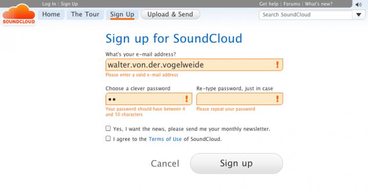 Signup-Formular auf Soundcloud