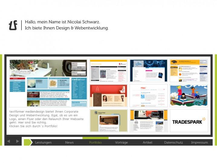 Die aktuelle Startseite von textformer.de