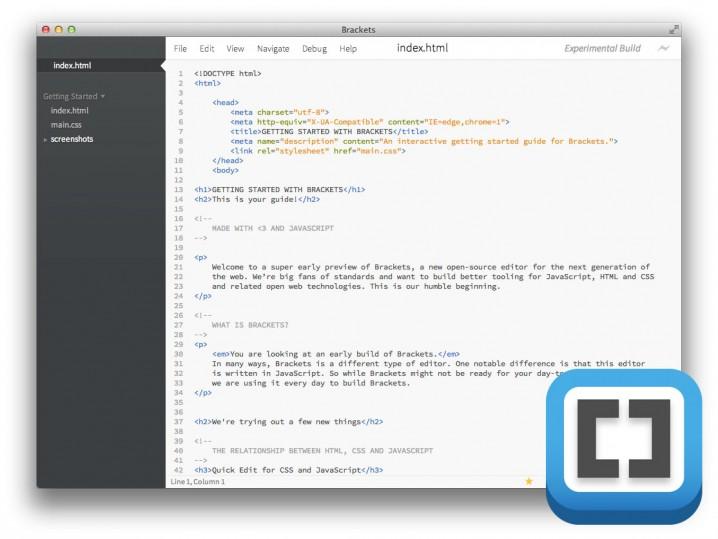 Der Startbildschirm von Adobe Brackets