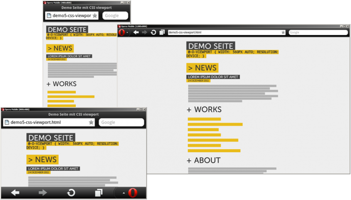 Unsere Demo-Seite, jetzt mit CSS @viewport