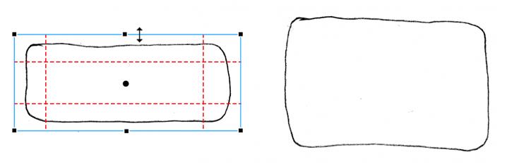 Illustration: Anwendung des 9-Slice-Skalieren-Werkzeugs