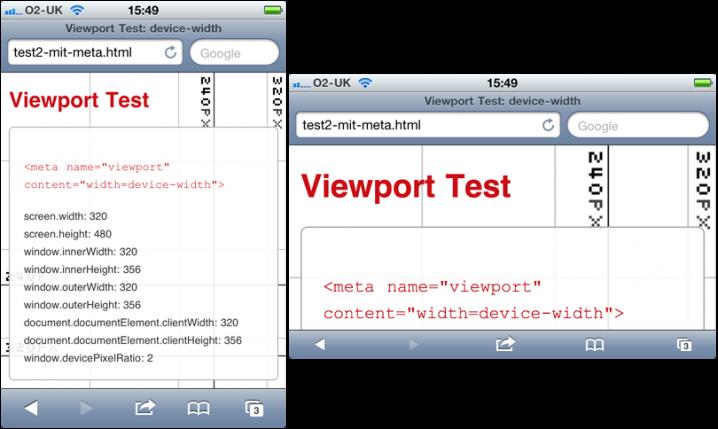 device-width bezieht sich in iOS immer auf die schmalere Seite, selbst in »portrait«-Orientierung