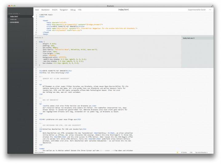 Per Quick Edit lässt sich CSS direkt in der HTML-Datei bearbeiten