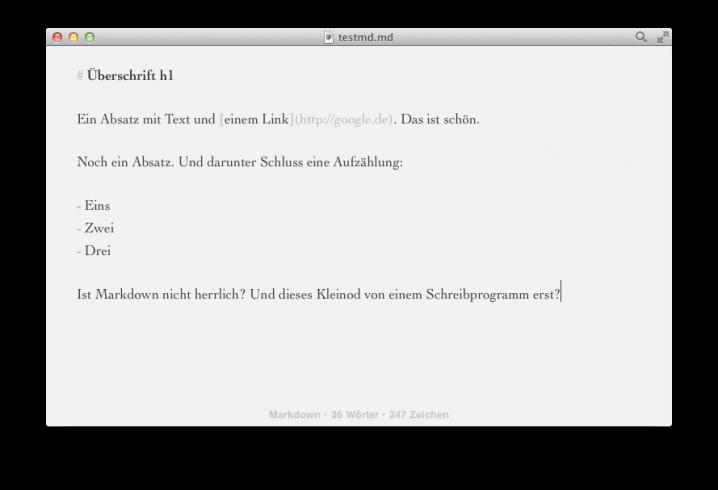 Screenshot: Byword mit einem geöffneten Markdown-Dokument