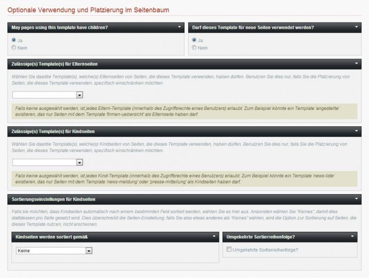 Durch Voreinstellungen können Webentwickler den Einsatzbereich jedes Templates genau festlegen.