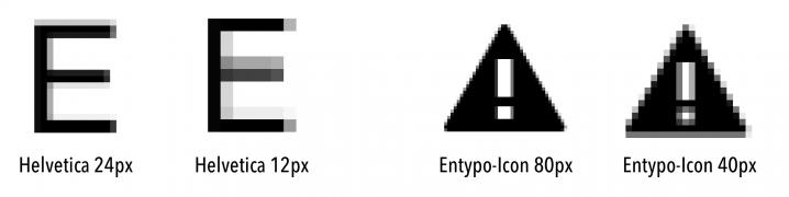 Demonstration von Halbpixelkanten anhand zweier Beispiele