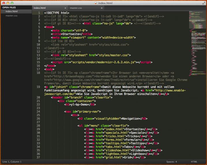 Das Editorfenster von Sublime Text 2 mit Seitenleiste und Minimap