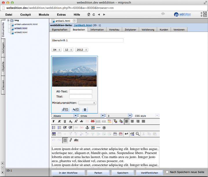 webEdition - Screenshot Backend Artikel