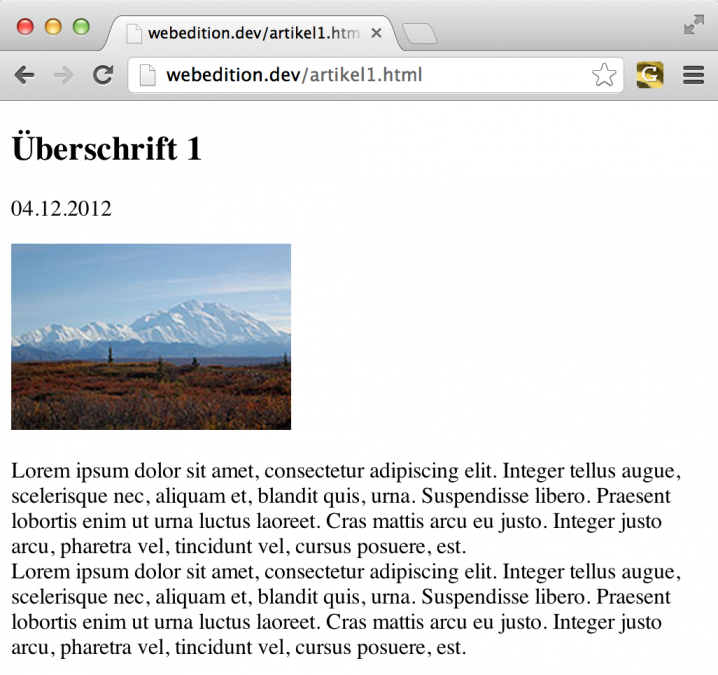 webEdition - Screenshot Frontend Artikel