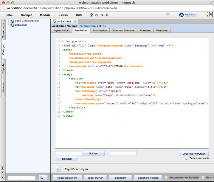 webEdition - Screenshot Template Artikel
