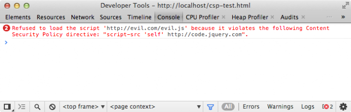 "Fehlermeldung bei aktiver CSP in der Konsole der Developer Tools von Google Chrome: ""Refused to load the script 'http://evil.com/evil.js' because it violates the following Content Security Policy directive: script-src 'self' http://code.jquery.com""."