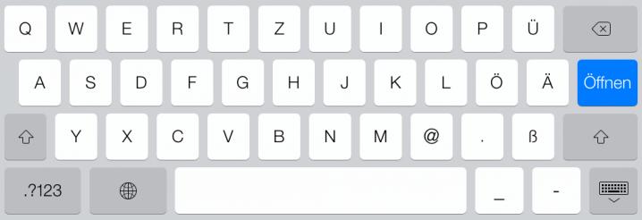 Tastatur mit @-Zeichen beim type-Parameter email auf dem iPad