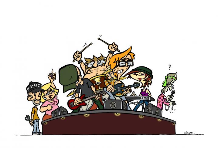 Mr. Kopozky und sein Team als Rockband