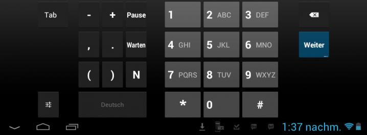 Zahlenblock beim type-Parameter tel auf Android