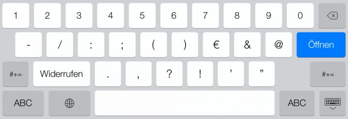 Zahlentastatur beim type-Parameter tel auf dem iPad