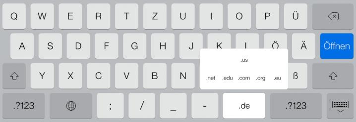 Tastatur beim type-Parameter url auf dem iPad mit .com-Taste