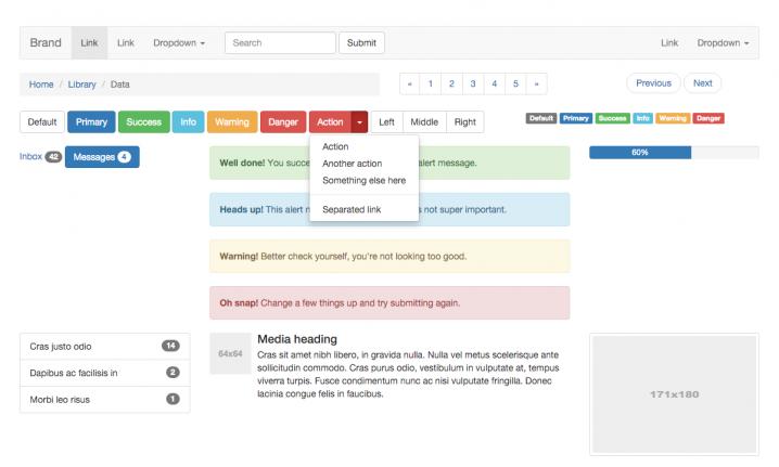 Eine Auswahl an UI-Elementen, wie Bootstrap sie standardmäßig bereit stellt
