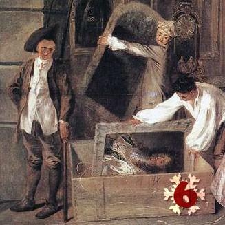 Gemälde (Ausschnitt): Antoine Watteau, Das Ladenschild des Kunsthändlers Gersaint, 1720/21. Schloss Charlottenburg, Berlin.