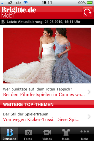 Screenshot der Brigitte-App
