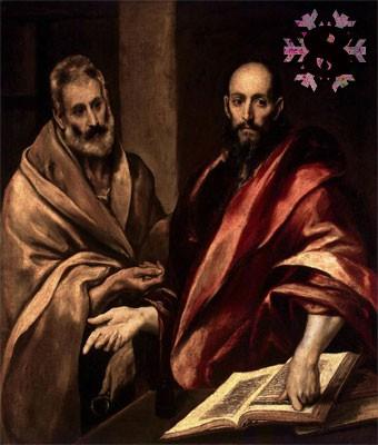 Gemälde: El Greco, Apostel Petrus und Paulus, 1614. Eremitage, St. Petersburg.