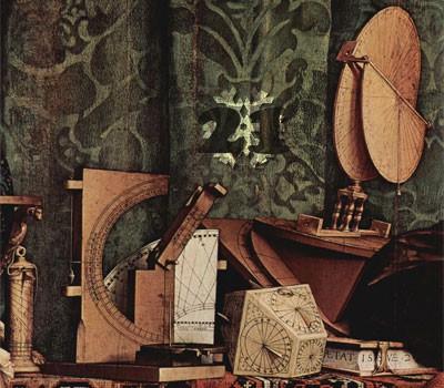 Gemälde (Ausschnitt): Hans Holbein d. J., Die Gesandten. 1533. National Gallery, London.