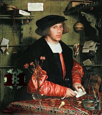 Gemälde: Hans Holbein, Der Kaufmann Georg Gisze, 1532. Staatliche Museen zu Berlin – Preußischer Kulturbesitz.