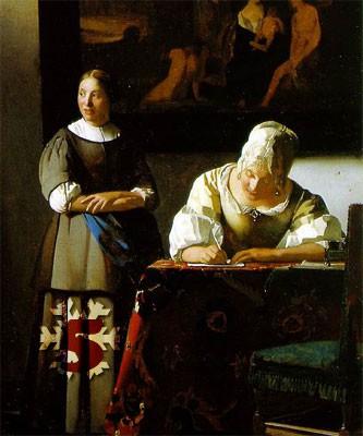 Gemälde (Ausschnitt): Jan Vermeer, Briefschreiberin und Dienstmagd, 1670. National Gallery of Ireland, Dublin.