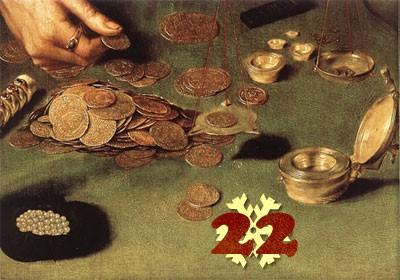 Gemälde (Ausschnitt): Quentin Massys, Der Goldwägler und seine Frau. 1514. Louvre, Paris.