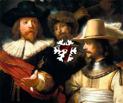 Gemälde (Ausschnitt): Rembrandt Harmenszoon van Rijn, Die Kompanie des Frans Banning Cocq (Die Nachtwache), 1642. Rijksmuseum, Amsterdam.