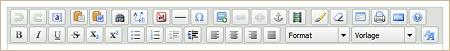 Beispiel 2: TinyMCE-Buttonleiste in der Standardkonfiguration von MODx Revolution 2.0.4