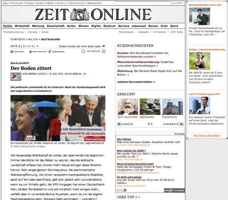 Screenshot: Die ZEIT vor dem Relaunch