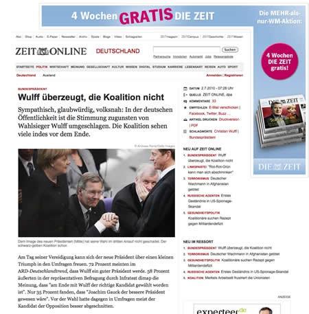 Screenshot: Die ZEIT nach dem Relaunch