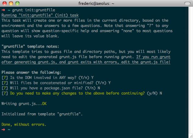 Screenshot der Ausgabe von grunt init:gruntfile