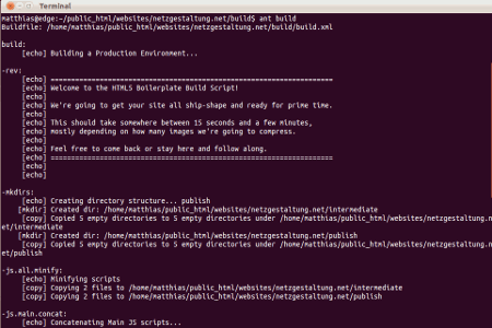 Ausgabe der Ausführung des build-Skriptes in einem Terminal