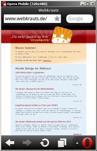 Das Web, wie es mobile Browser mit dem Standard-Layout-Viewport von 980px anzeigen
