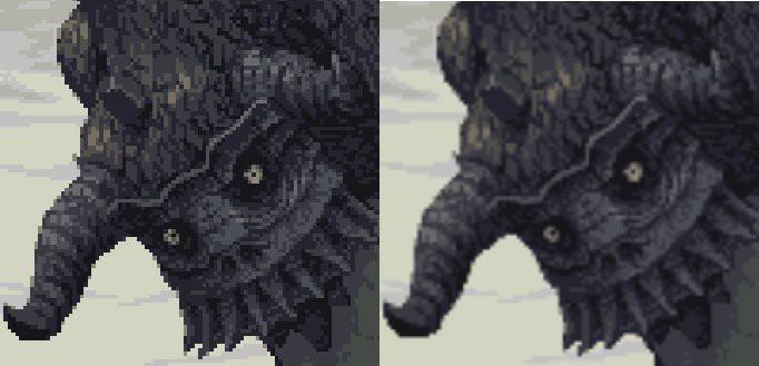 Monstergesicht einmal mit und einmal ohne crisp-edges