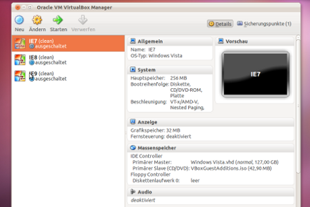 Screenshot: VirtualBox mit ievms