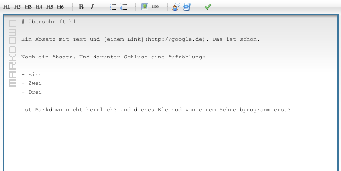 Screenshot: MarkItUp-Komponente mit einem Text in Markdown
