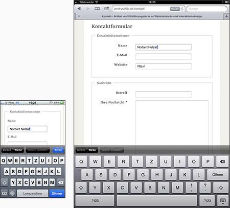 Vergleich Tastatur auf dem iPhone und iPad