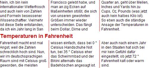 Opera 11 Screenshot - dreispaltige Darstellung, die Zwischenüberschrift teilt die Spalten zusätzlich in zwei Spalten