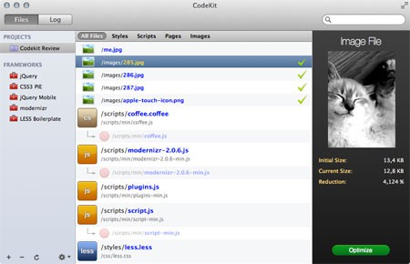 Screenshot: Ein Projekt in CodeKit