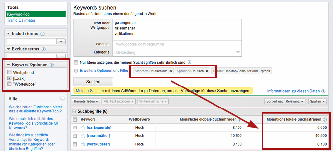 Screenshot des Google Keyword-Tools