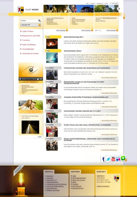 Startseite von moers.de, leicht abweichend vom Wireframe